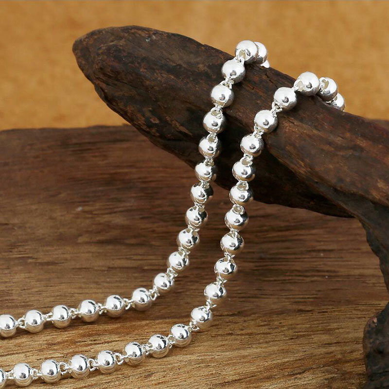 Hot Sale 4mm life of peace bead necklace vintage 100% 925 sterling silver chain fashion necklace women and men fine jewelry GN14(China (Mainland))