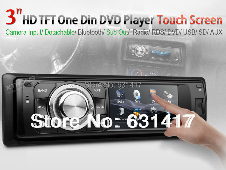 """3"""" 1 Din Radio Car DVD Player Touch Screen Detachable Panel Bluetooth Subwoofer Mp3 CD palyer Single Din Car Radio Stereo(China (Mainland))"""