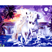 Buy diy painting numbers white horses picture hand painted canvas oil paintings living room canvas wall art decoration for $5.90 in AliExpress store