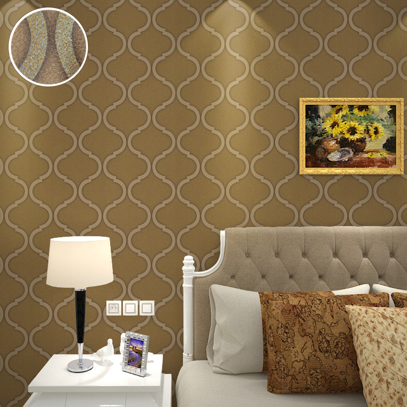 Faux leather bedding promotion shop for promotional faux for Brown and cream living room wallpaper