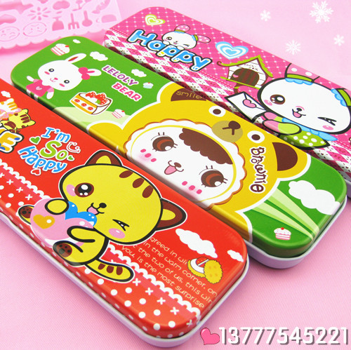 Cartoon stationery box metal double layer pencil case korea stationery pencil case 90g