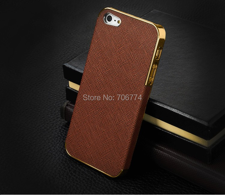 Gold Aluminum+PU luxury Cover case Cross pattern Platinum Design Hard Case For Apple iPhone 5S 5 For Iphone5S 50pcs/lot(China (Mainland))