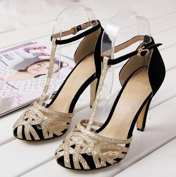 ENMAYERT-Strap Sheepskin High Sandals 8cm new sale Thin Heels women Sandals Cover Head platform shoes women Glitter Summeshoes(China (Mainland))