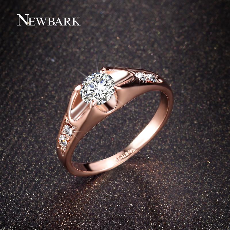 NEWBARK Big Sale 18K Rose Gold Plated Mounting 0 5ct CZ Diamond La s Rings