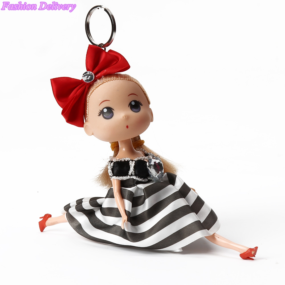 12pcs/lot Lovely Key Rings Girls Trinket Moppet Wear Skirt Toys Key Holder Kawaii Key Chains Souvenirs Gifts for New Year Mixed(China (Mainland))