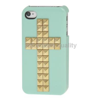 Гаджет  Brand New Free Shipping Cross Pattern Diamond Rivet Style Plastic Protective Case for iPhone 4   4S (Green) None Изготовление под заказ