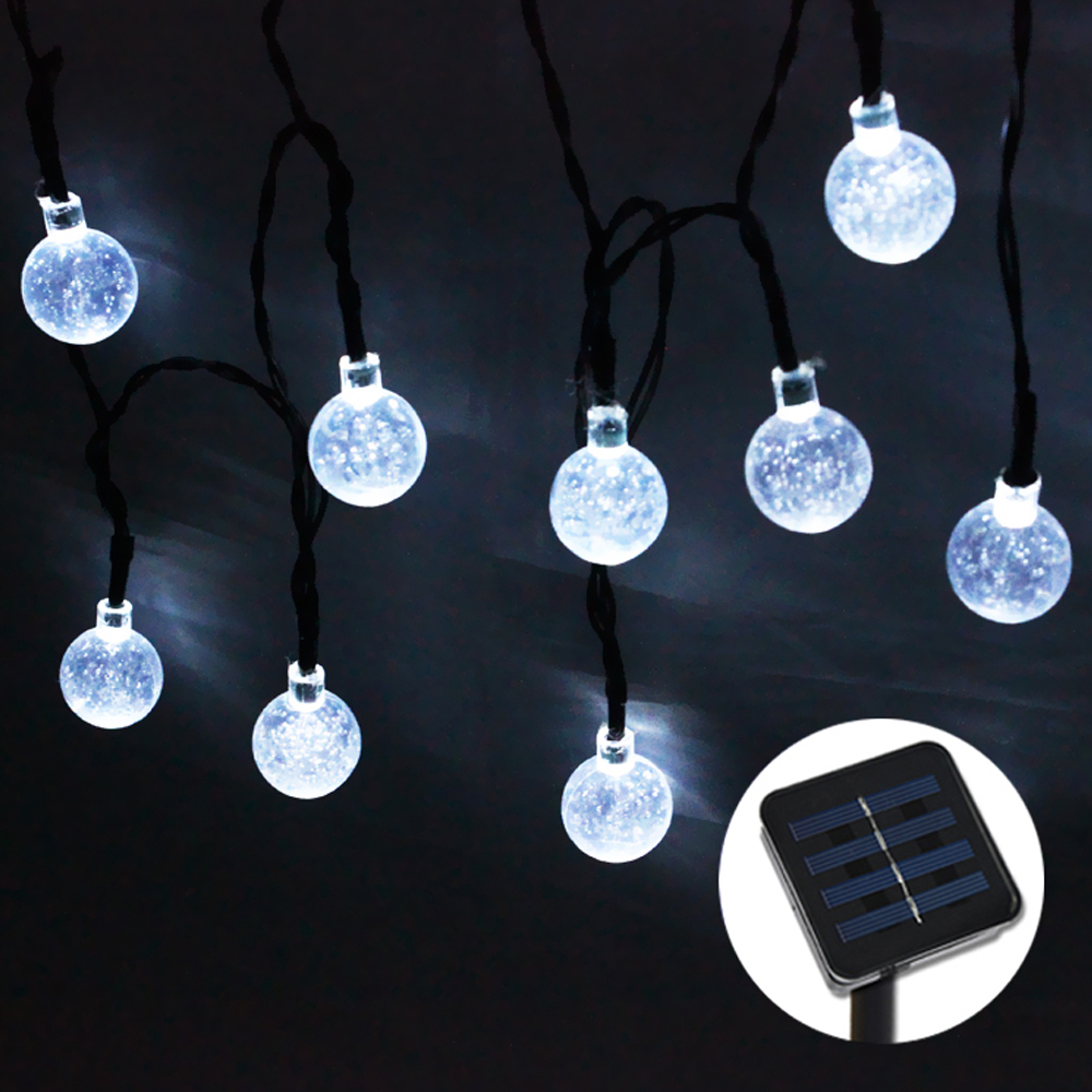 30LED 6M Solar Powered LED Crystal Ball Outdoor String fairy Lights for Outside Garden Patio ...