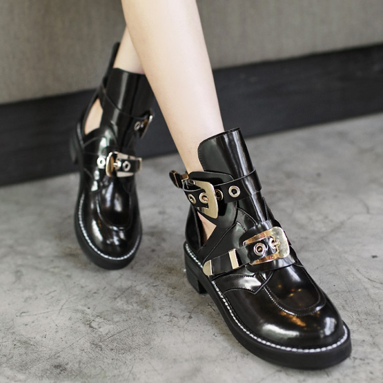 2015 Brand Hot Buckle Cutout Flat Black Genuine Leather Women Motorcycle Boots Summer Ankle Boots Shoes Riding Gladiator Booties<br><br>Aliexpress