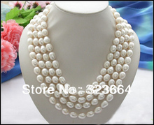 "Buy Long 80"" 13mm white rice freshwater pearl cultured necklace for $37.49 in AliExpress store"