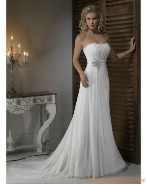 Gorgeous Vestido De Noiva Cheap Wedding Gowns White Chiffon Ruched Design Str