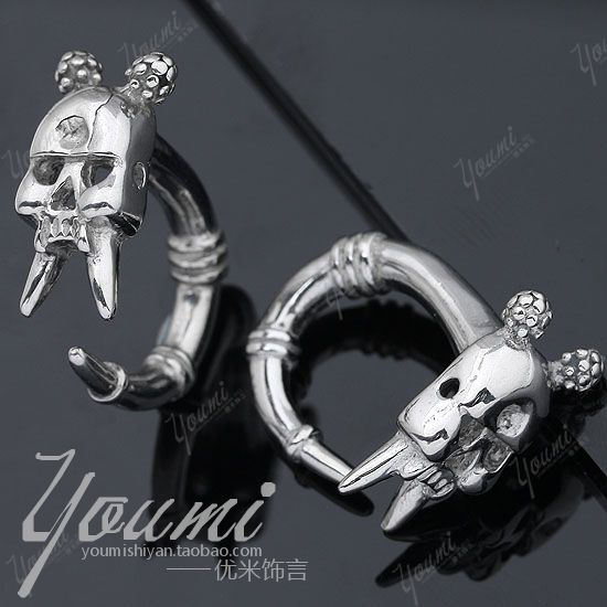 Skull stud earring 316 stainless steel ear expansion device 4mm male personality accessories reamer - enquan zhang's store