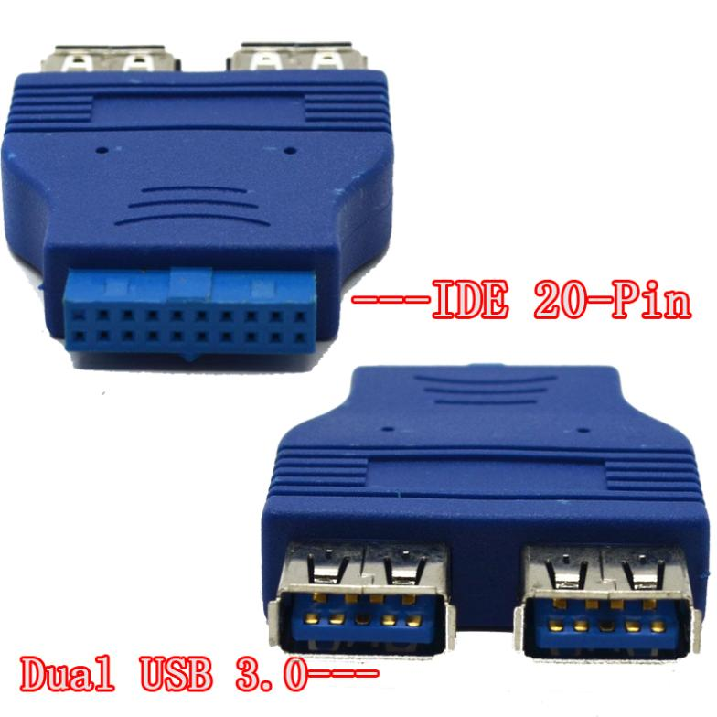 High quality Dual USB 3.0 AF to IDE 20 Pin Adapter usb to IDE converter adapter blue free shipping 10pcs/lot(China (Mainland))