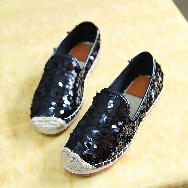 Black whiteGold Silver Sequins Paillette Upgrade Straw Rope Braid Espadrilles Alpargata Casual Womens Fashion Flat Shoes Loafers<br><br>Aliexpress