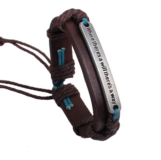HOT Sale 2015 Men Women Jewellery pulseira masculina Letter Proverb Handmade Leather Bracelets Bangles Men pulseira de couro(China (Mainland))