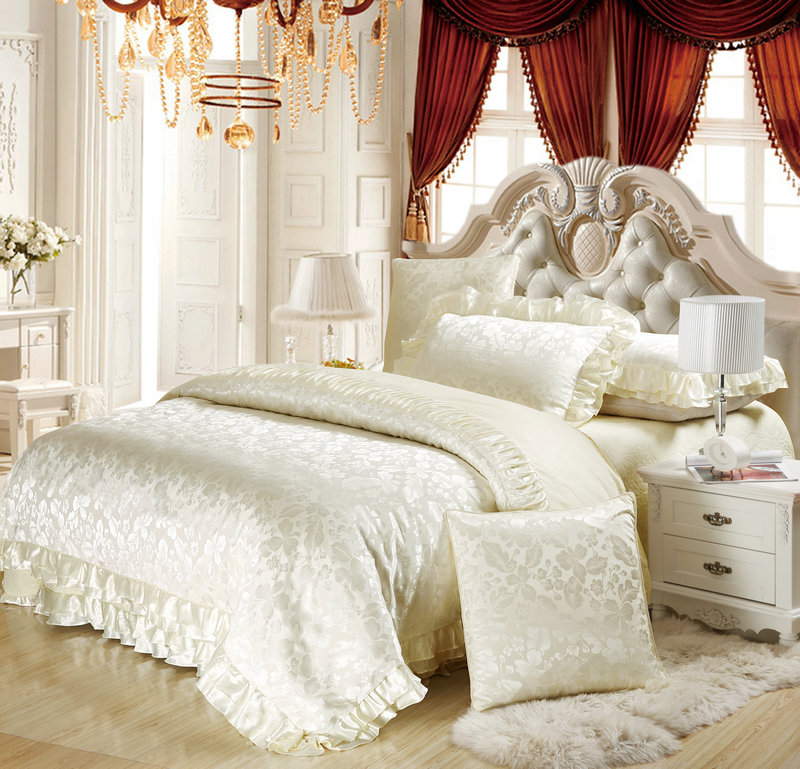 4/6 Pcs Luxury Silk Cotton Jacquard King Queen Size Wedding Bedding Set Comforter cover set Bed spread Pillowcases/Shams(China (Mainland))