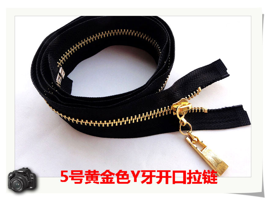 1piece 65cm/85cm 5# metal zippers for sewing black fabric golden teeth high-grade clothing jacket luggages zipper free shipping(China (Mainland))