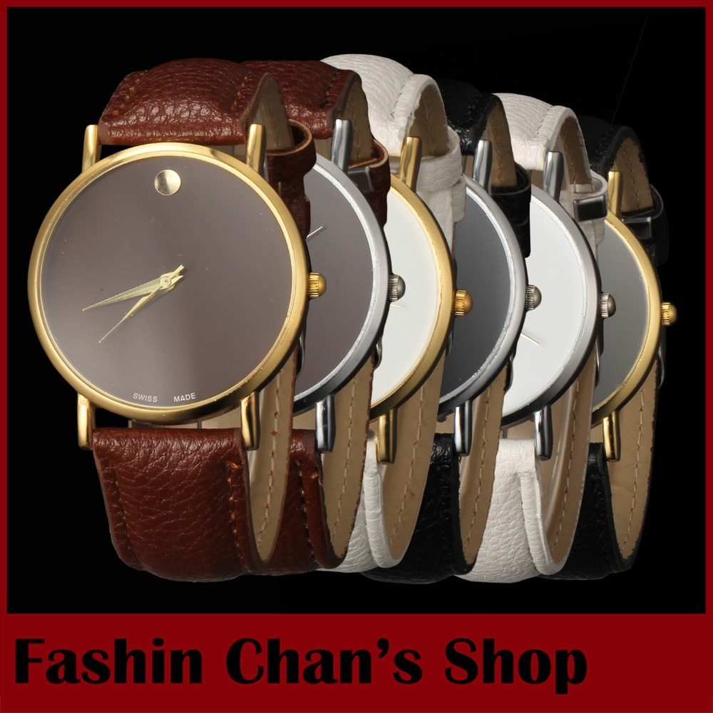 2016 top popular men's leather strap quartz watches famous luxury brand ladies dress watch gold freeship - Fashion Chan's Shopping Mall store