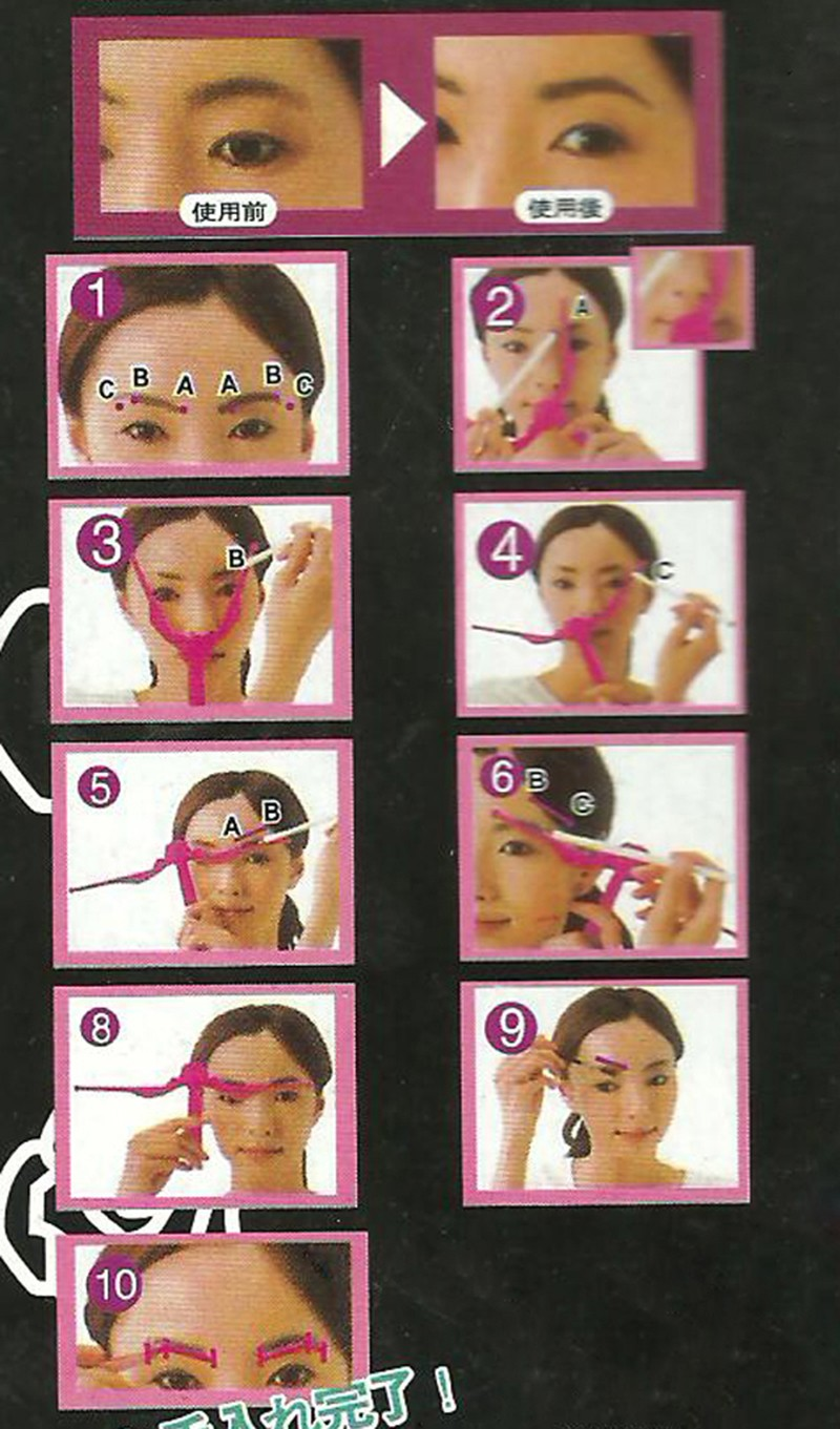 Plastic Eyebrow Template Foldable DIY Eyebrow Ruler Shape Stencils Eyeline Model Beauty Make Up Tools Accessories SC76