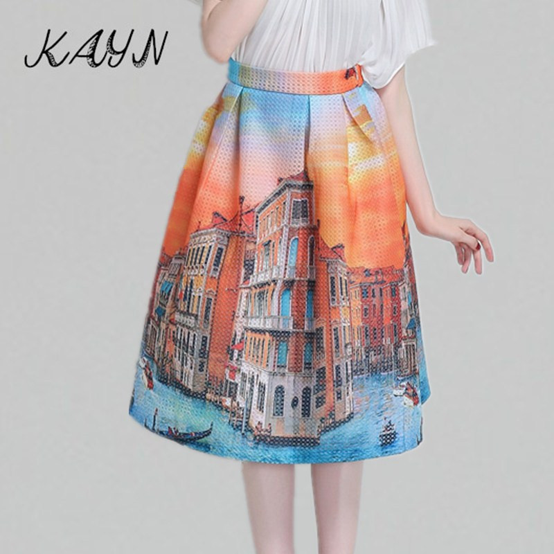 American Apparel 2015 Autumn New Brand Fashion Women's Elegant Casual Vintage Print High Waist Ball Gown Tutu Midi Skirt Women - KAYN Boutique Clothing store