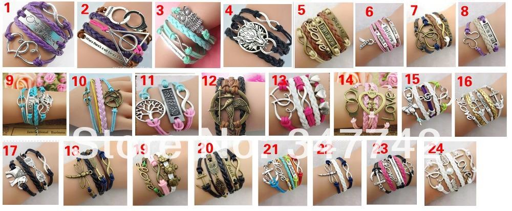 Different styles !leather infinity bracelet,double love bracelet, cross bracelet ,owl bracelets girls - YiWu Bebillion Jewelry store