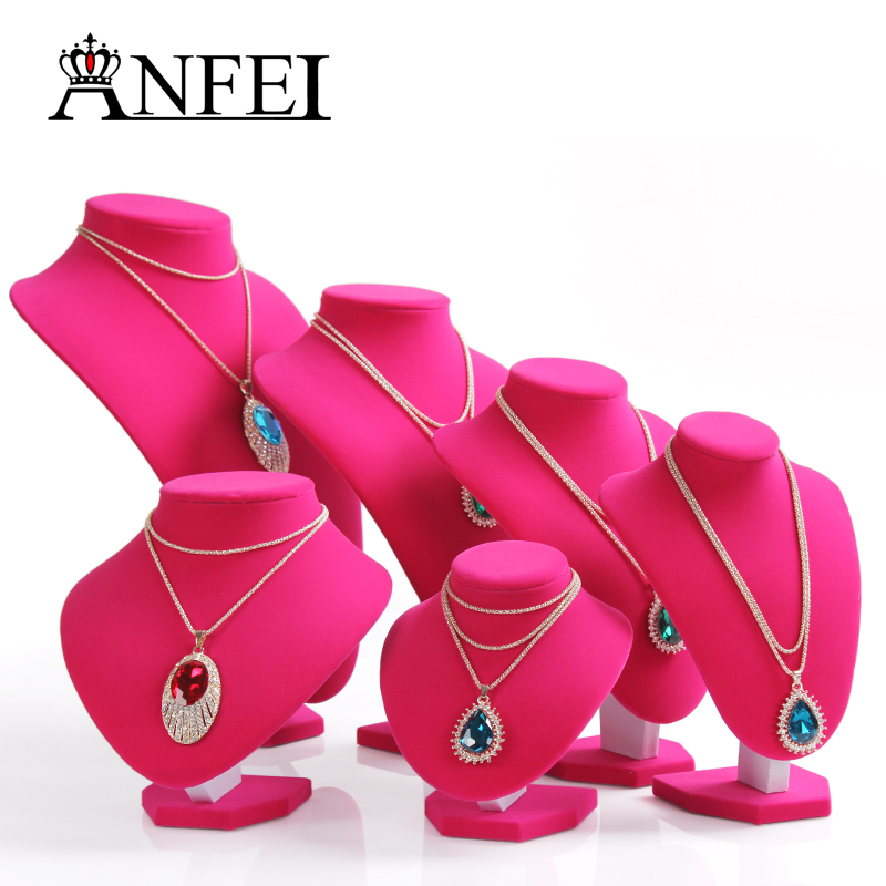 ANFEI Differents Necklace&Pendant Display With High Quality Rose Red Fabric Material Rack Stand Showcase For Women's Jewelry(China (Mainland))