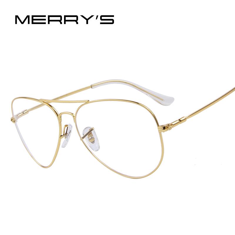 MERRY'S Fashion Men Titanium Eyeglasses Frames Men Brand Titanium Eyeglasses Gold Shield Frame With Glasses 2 Color(China (Mainland))