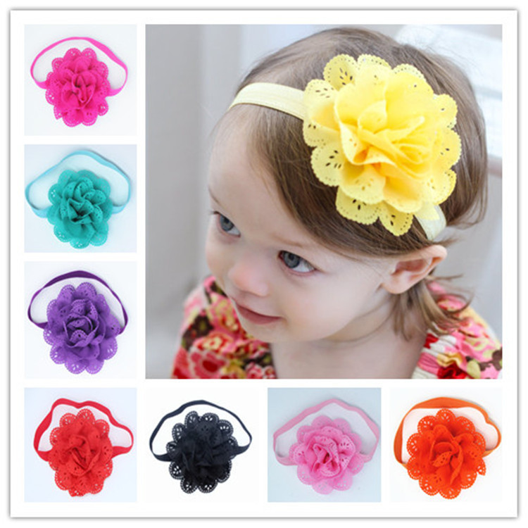 2015 Children's Hair accessories Hairband Baby Headband Flower Princess Headwear Elastic Flower Summer Style L001(China (Mainland))