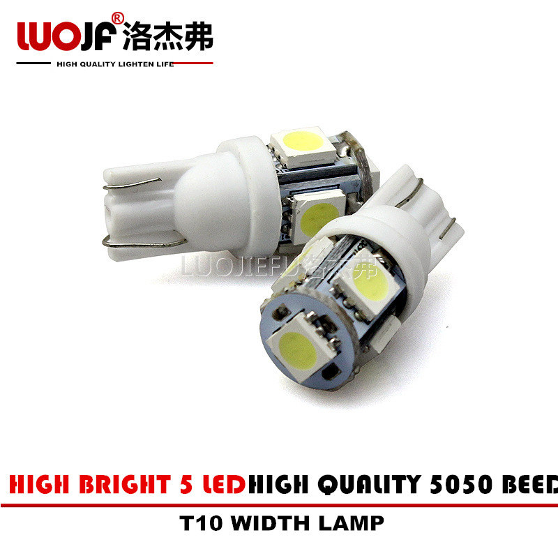 10 pcs/lot High Quality T10 194 168 W5W 5SMD 5050 DC 0.5A 12V White/Blue LED Light Wedge Bulb Lamp For Car Styling(China (Mainland))