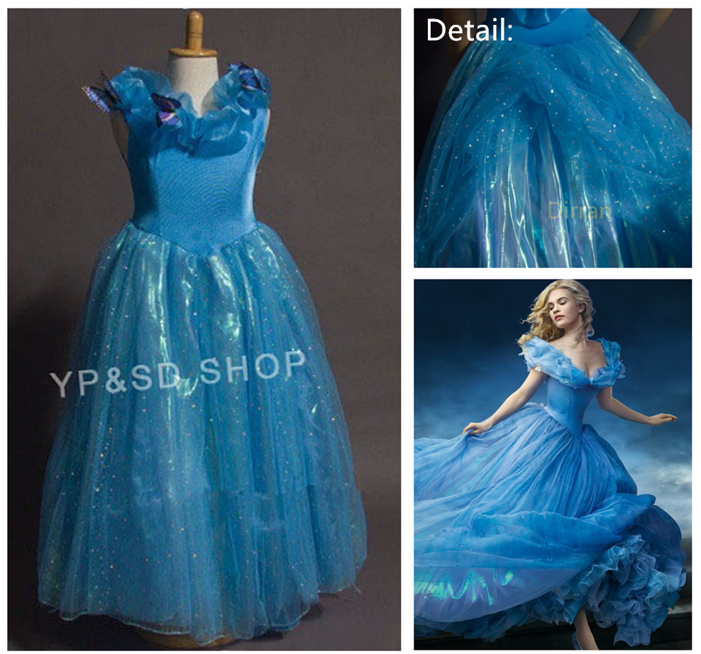 Sandy Princess Cinderella Girls Cosplay Costume kids Party Halloween Dress Gown Birthday Wear Christmas Gift Blue Short Sleeve - Alipower Youth's store