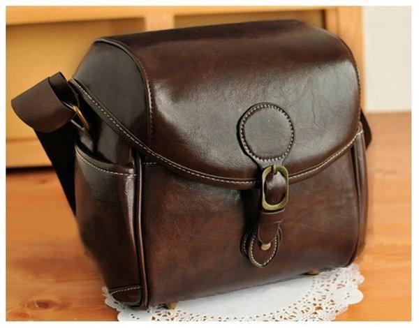 DSLR SLR Waterproof PU Leather Camera Bag Travel Bag Shoulder Bag For NIKON CANON SONY FUJI