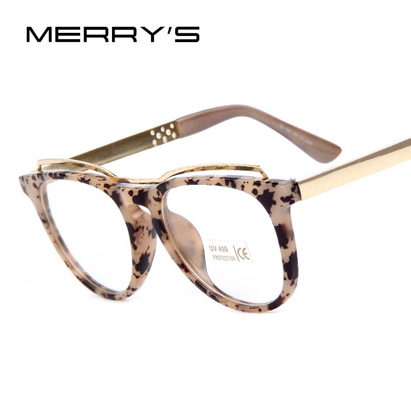 MERRY'S Fashion Women Cat's Eye Glasses Brand Designer Frames Print Frame Women Eyeglasses Frames High quality