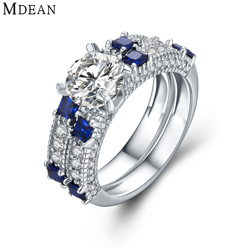 MDEAN Wedding Rings for Women Genuine 925 Sterling Silver Jewelry Solid Pure Blue and Clear CZ Diamond Engagement Bague MSR472(China (Mainland))