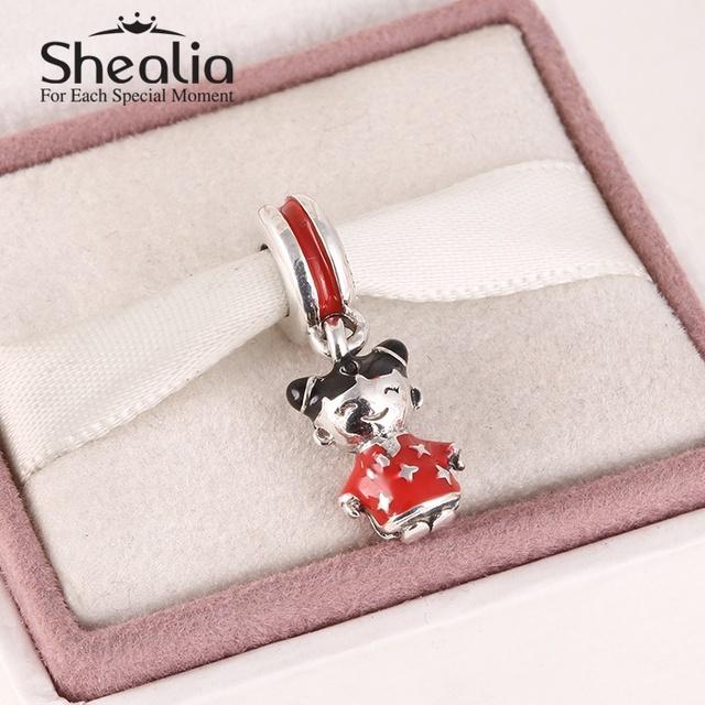 925 чистое серебро китайский кукла мотаться подвески-талисманы красный и черный эмаль кантри подвески-талисманы для женщины браслет SH0593
