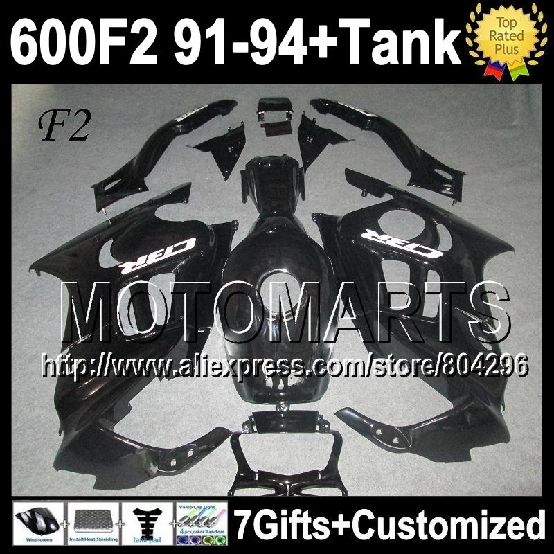 +Tank ALL Black 1992 1993 HONDA CBR 600F2 91 92 93 94 Glossy black CBR600 600 F2 4Y1829 1991 1994 CBR600F2 Fairing& - Motomarts store