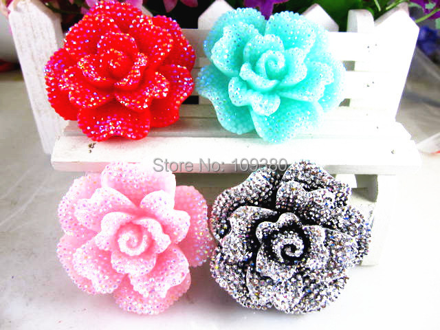 20pcs new arrival shining bling bling resin flower for home kids phone hair decoration flat back resin mini bow(China (Mainland))
