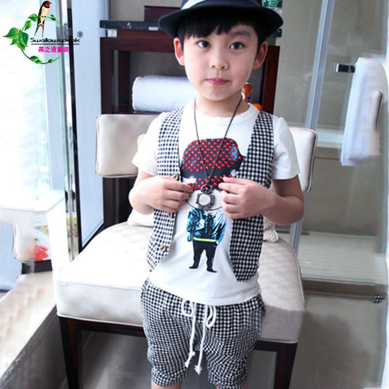 Kids Summer Clothes Set Boy Plaid Vest +Tie T shirt +plaid pants Short sets Gentleman Suit Casual Wear suits boys ecs34 - Luckily kids store