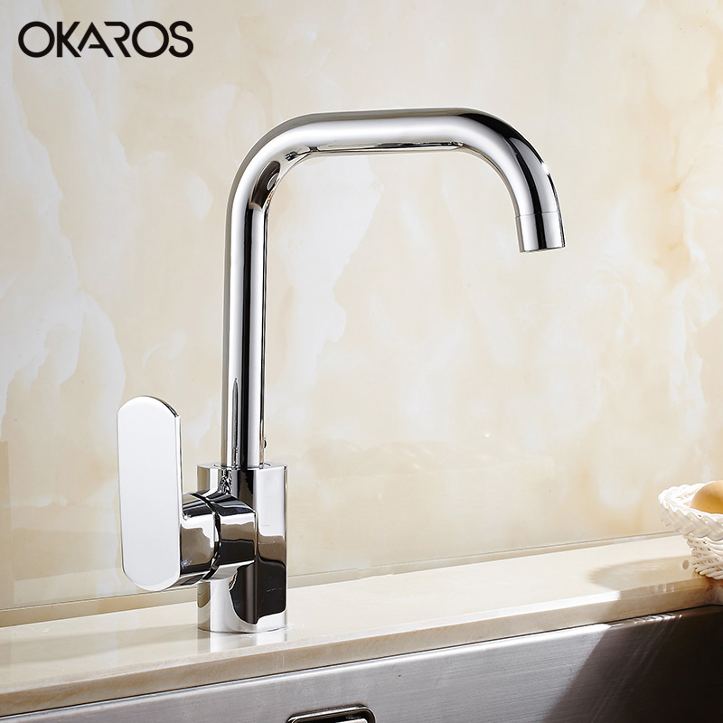 Contemporary Kitchen Faucet Water Tap Chrome Finish Solid Brass Single Handle Hot And Cold Water Tap Mixer Torneira(China (Mainland))