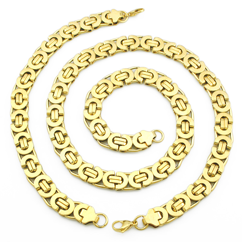 Mens Gold Plated Chain Stainless Steel Necklace Bracelet set Flat Byzantine fashion necklaces women Punk Party Biker 2016 - Vogue Zone store