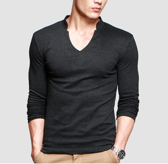 Thick T-Shirt Men's Long Sleeve Brand Tee V neck T Shirt For Man 2015 Black / Blue / White / Army Green / Light Gray / Dark Gray