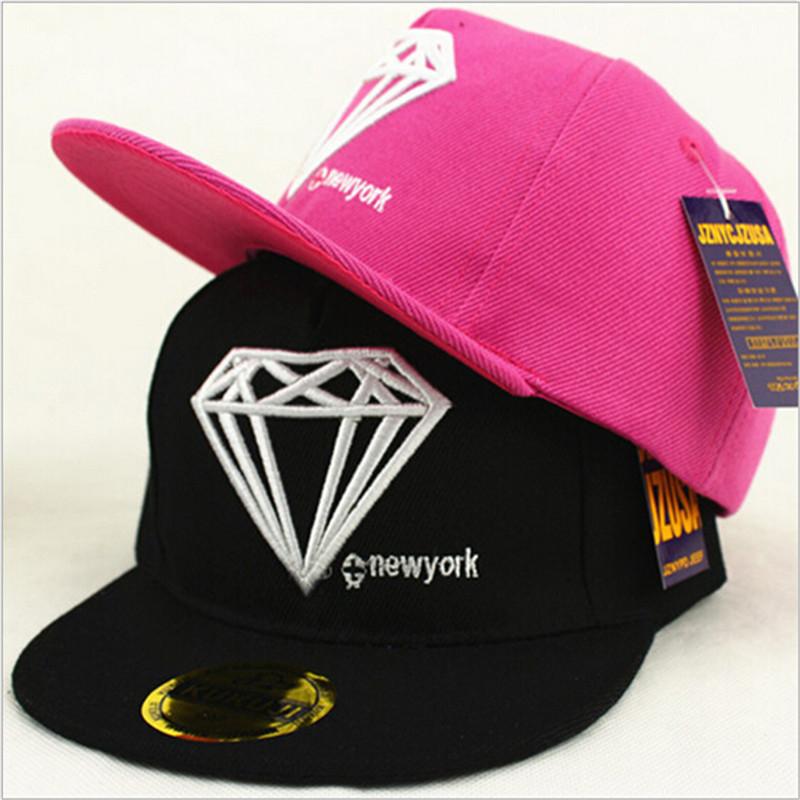 2016 Fashion Kids Baby Baseball Cap Snapback Children Diamond Print Flat Hats Boys Girls Adjustable Hip Hop Cap(China (Mainland))