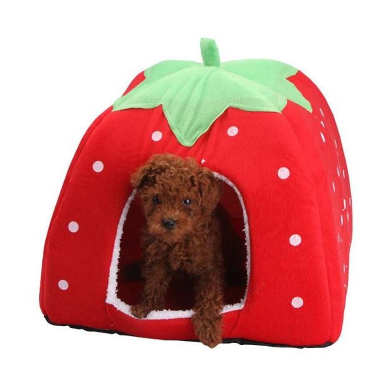 Собака Стирать Кошачьих Туалетов Клубника Кровать Дом Питомник Doggy Теплый Подушка Корзина 3 Размер