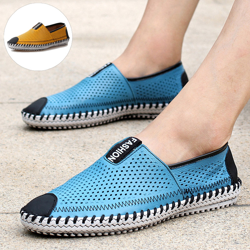 Summer Style Men's Fashion Casual Shoes Hole Genuine Leather Driving Rubber Soles Flats Slip-On Loafers  -  CN Shoes store