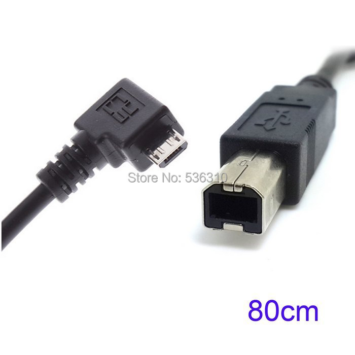 80cm Right Angled 90 Degree Micro USB OTG to Standard B Type Printer Scanner Hard Disk Cable(China (Mainland))