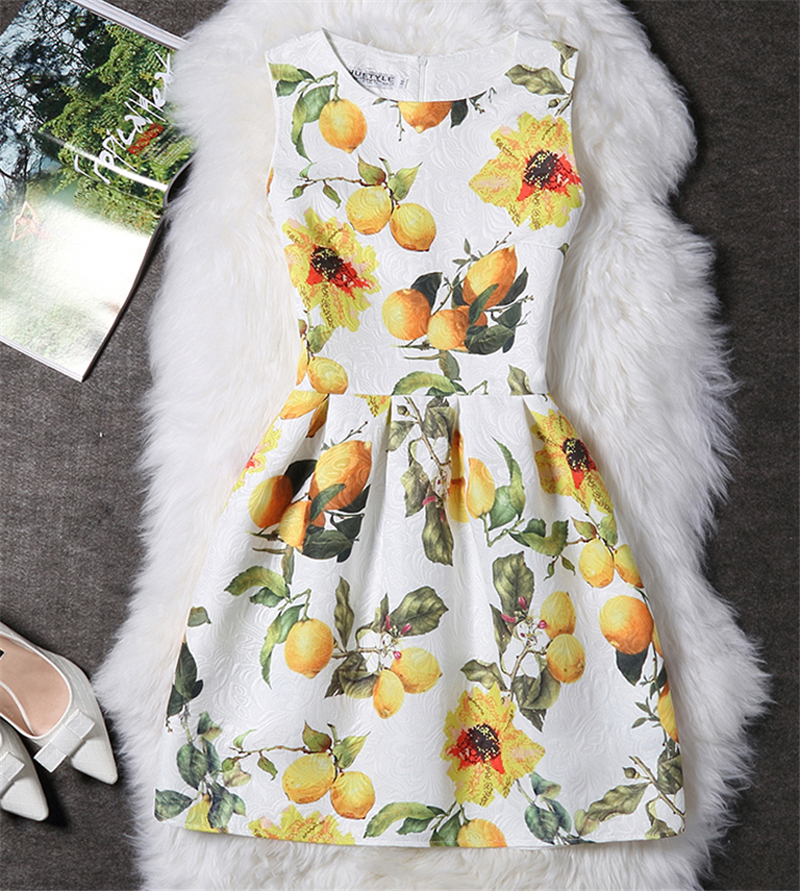 2016 Summer Dress Women Slim Printed France Lady A-line Bodycon Party Dress Casual Vintage Vestido Female Clothing Plus Size(China (Mainland))