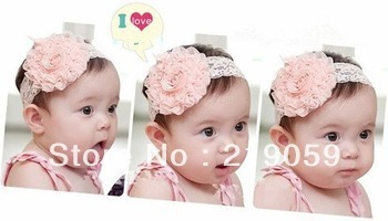 Free shipping mixed order over 10usd Lace Flower Newborn Baby Infant Toddler Kid Girl Headband Christening Elastic
