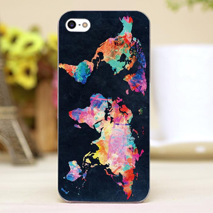 Colorful World map Design Customized transparent font b case b font cover cell font b mobile