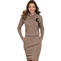 New Autumn Winter Women Brief Elegant Office Dress Long Sleeve Turtleneck Sexy Bodycon Knee Length Casual