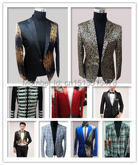 male Jackets blazer 2015 NEW FASHION MEN SLIM SEPUINS GROOM DRESS CLUB for singer dancer star stage nightclub show party bar(China (Mainland))