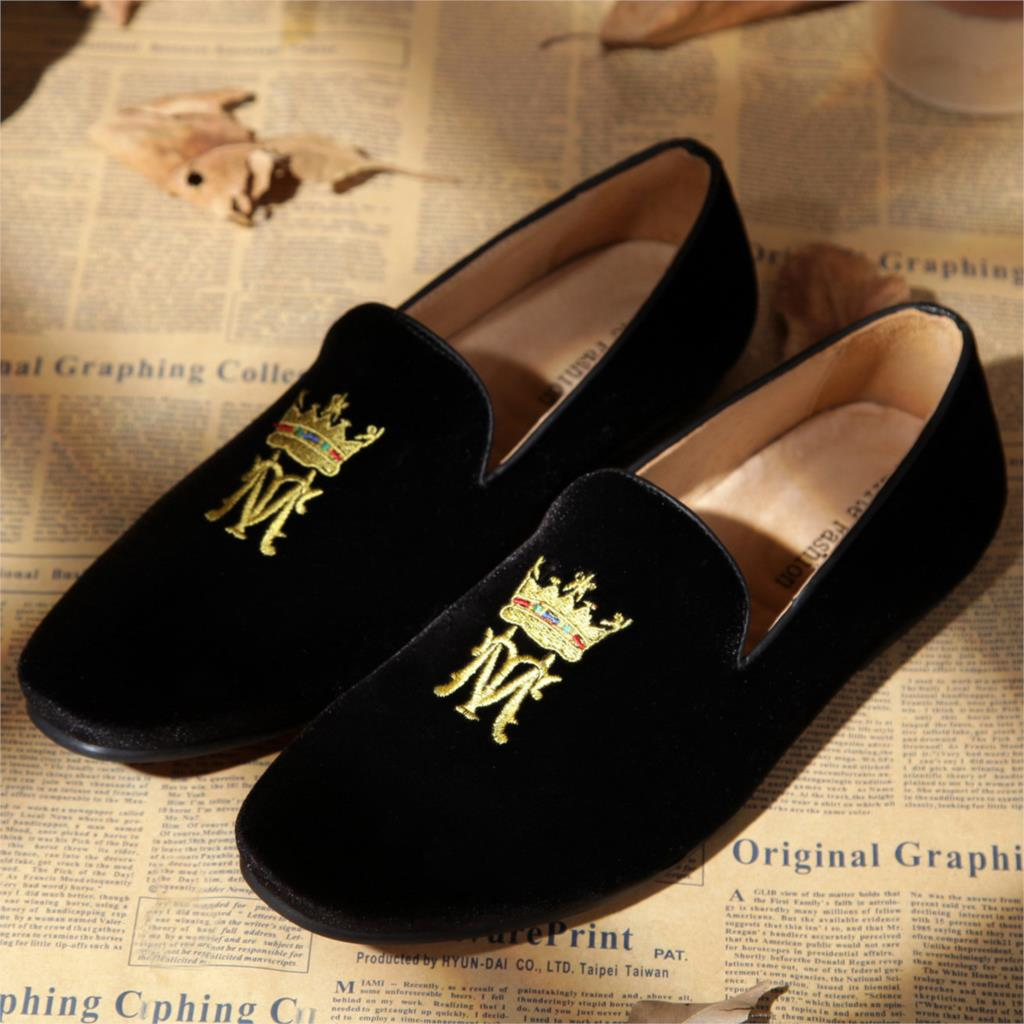 Monogram Custom Made Black Velvet Loafers Slippers Men Size 8-10 - Elite Fashion store
