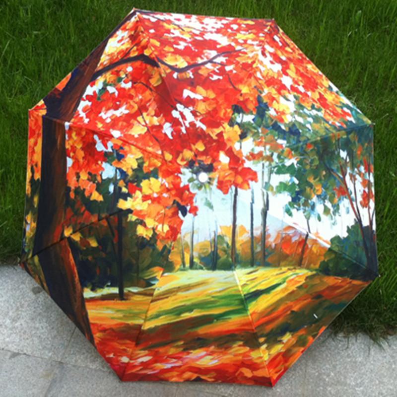 Картина маслом зонт дождь женщины портативный три складной ветрозащитный анти-уф зонтик зонтики красочные